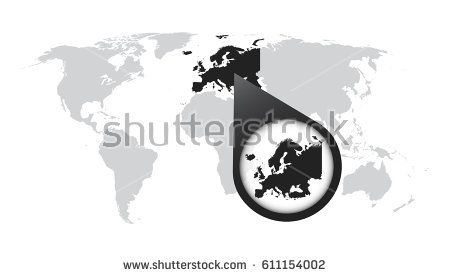 World map with zoom on europe map in loupe vector illustration in world map with zoom on europe map in loupe vector illustration in flat style europa pinterest illustrations gumiabroncs Image collections