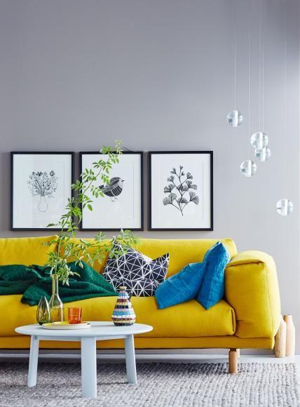 Wohnideen mit Farben - Einrichten und dekorieren mit Gelb, Blau - wohnzimmer grau rot