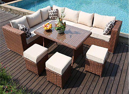 Yakoe 9 Seater Papaver Range Rattan Garden Furniture Corner Sofa And Dining Set Brown Outdoor Furniture Sets Patio Furniture Pillows Rattan Garden Furniture