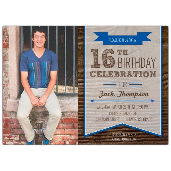Boy 16th Birthday Invitations