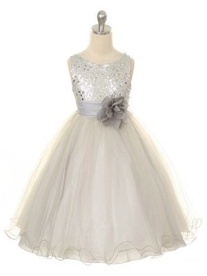 b5c4fe92d Silver Sequined Bodice with Double Tulle Skirt Flower Girl Dress ...