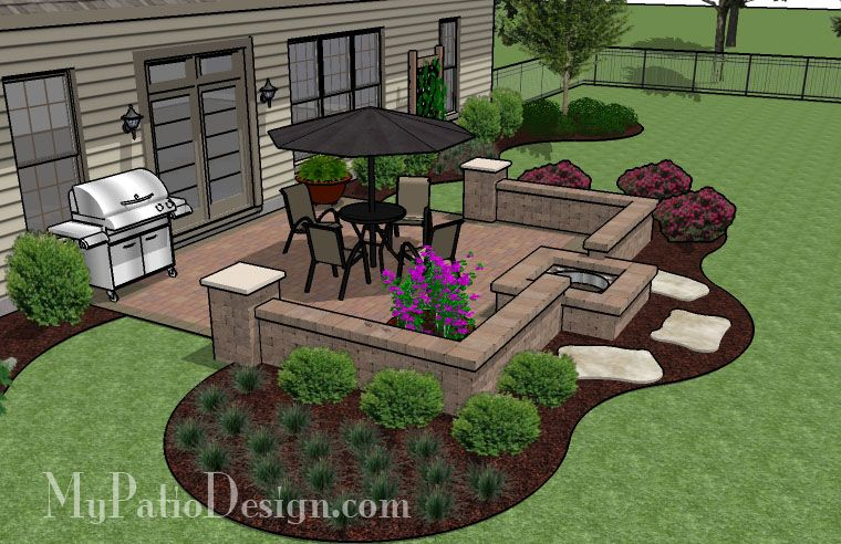 Simple Patio Designs With Fun And Simple Patio With Fire Pit Designs Ideas 320 Sq Ft Diy Square Design With Seat Wall