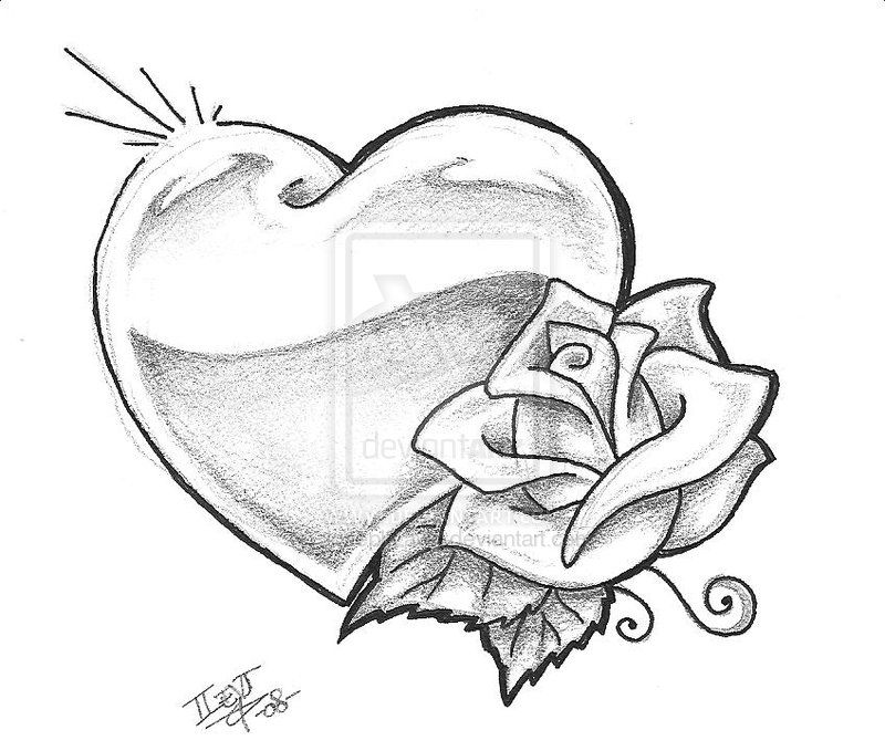 Heart and Roses Tattoo Drawings | heart 002 heart tattoos | Flower ...