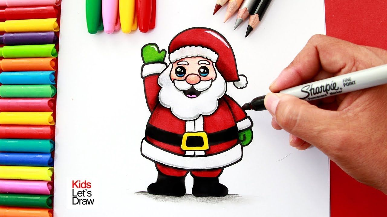 Aprende A Dibujar Y Pintar A Papá Noel Fácil How To Draw A Cute Santa Papa Noel Christmas Drawing Cute Drawings