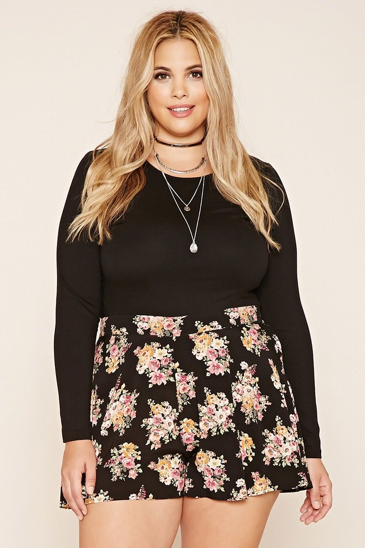 Forever 21+ - A pair of woven shorts featuring an allover floral print and a smocked waist in back.