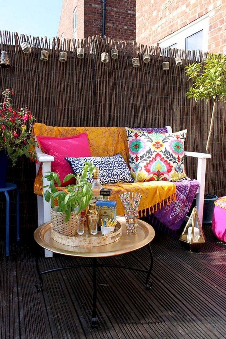 55 Amazing Utilization Ideas Eclectic Balcony Bohemian Patio Backyard Decor Vintage Patio