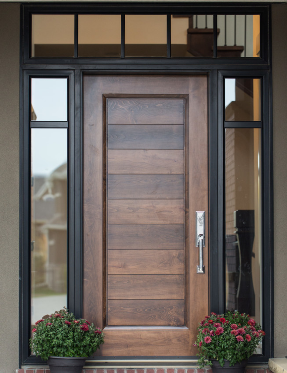 Modern Front Door example of custom wood door with glass surround | interior barn