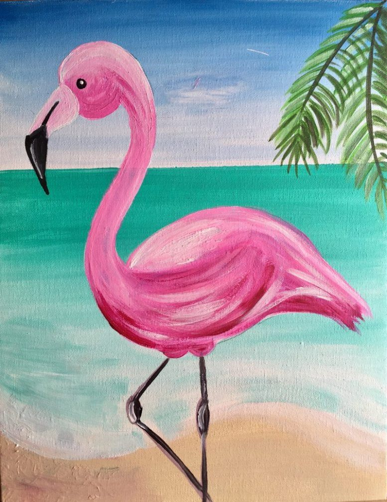 How To Paint A Flamingo Tuval Resimleri Tuval Sanati Ve