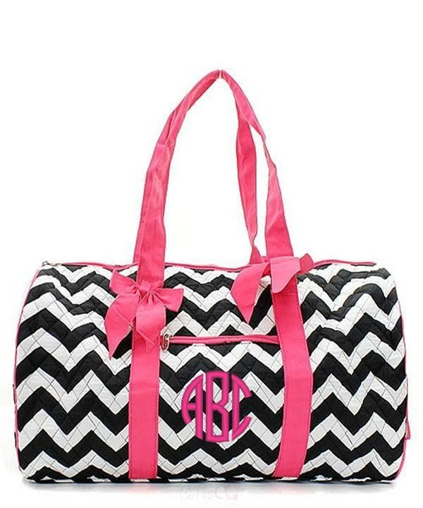78fbd6ef85 Personalized Quilted Duffle Bag Large Weekender - Chevron Owl Gray ...