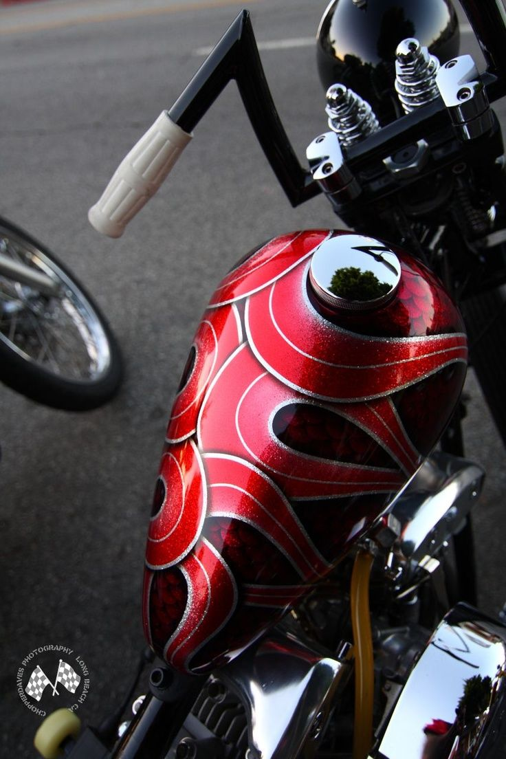 Red And Black Metal Flake Peanut Tank Custom Paint