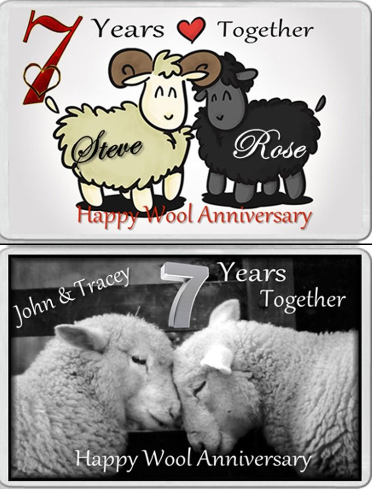 Fridge Magnet Married 7 Years 7th Wool Wedding Anniversary Gift