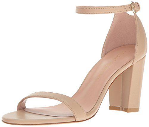 Stuart Weitzman Women's Nearlynude Heeled Sandal, Adobe, 9