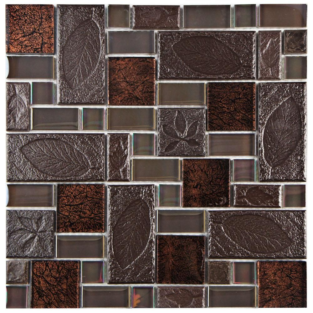 Merola Tile Garden Versailles Walnut 11 3 4 In X 11 3 4 In X 8 Mm Ceramic And Glass Mosaic Tile Gdxgvswn Stone Mosaic Tile Stone Mosaic Glass Mosaic Tiles