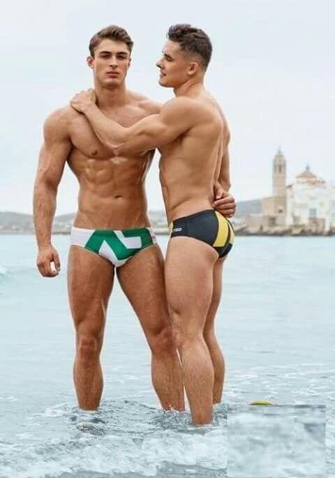 Brunette gay hot male underwear photo