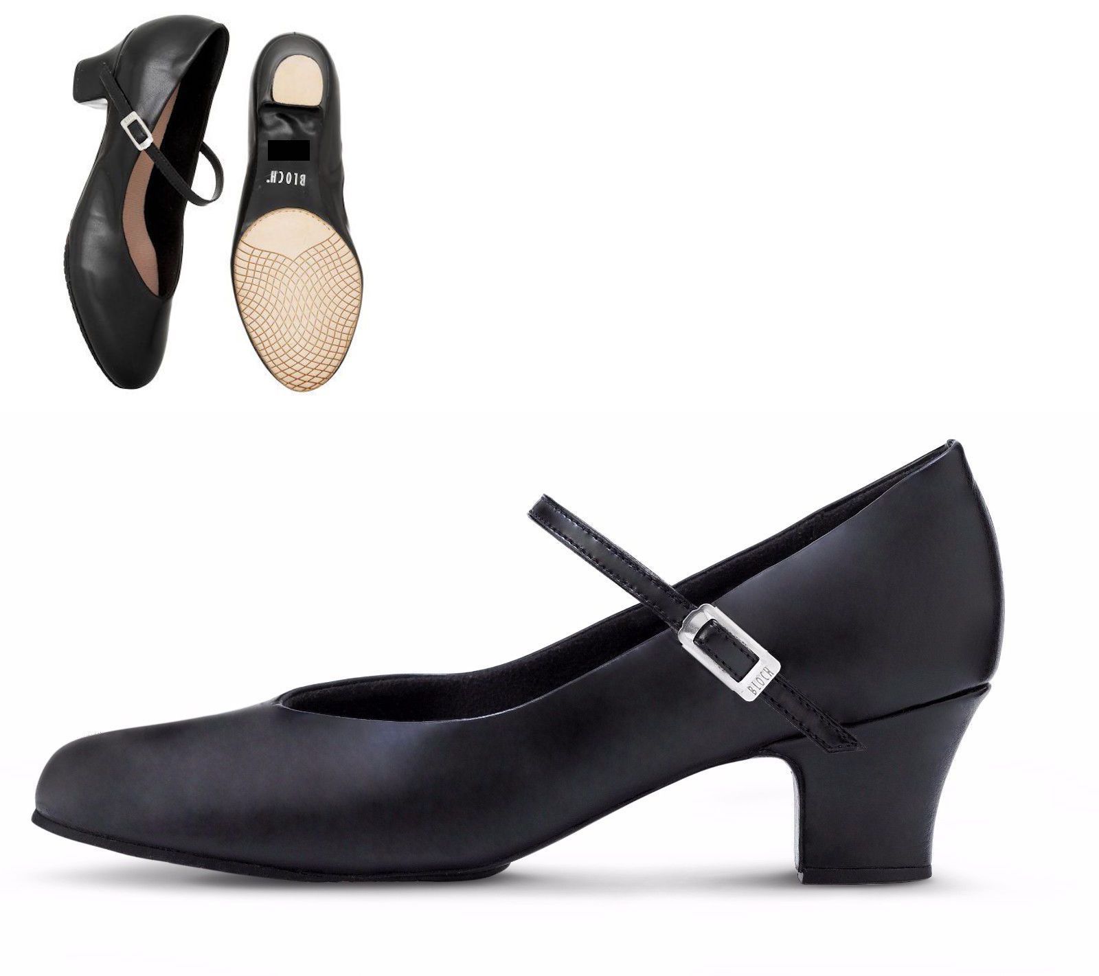 Capezio 550 Black Junior Footlight Stage Shoes 1.5/'/' Heel