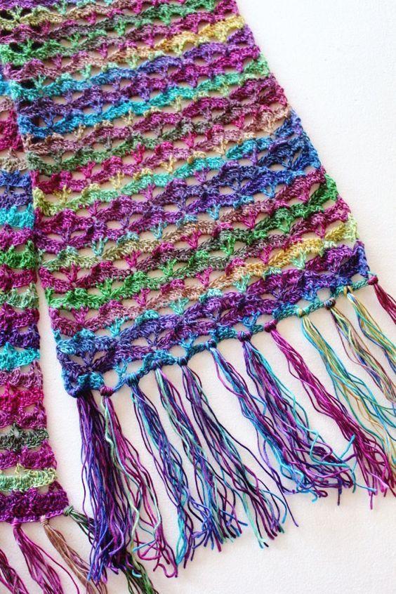 Free Crochet Pattern: Autumn Sunset Super Scarf | Chal, Ganchillo y ...