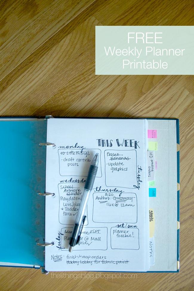 Simple doodle weekly planner free printable