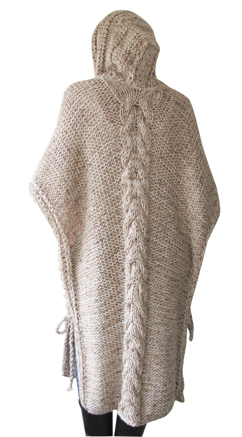 NEW! Plus Size Maxi Knitting Poncho with Hoodie - Over Size Tweed ...