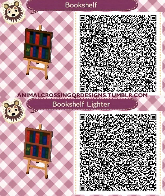 Bookshelf Qr Codes Acnl Paths Leaves Animal Crossing Pattern Coding