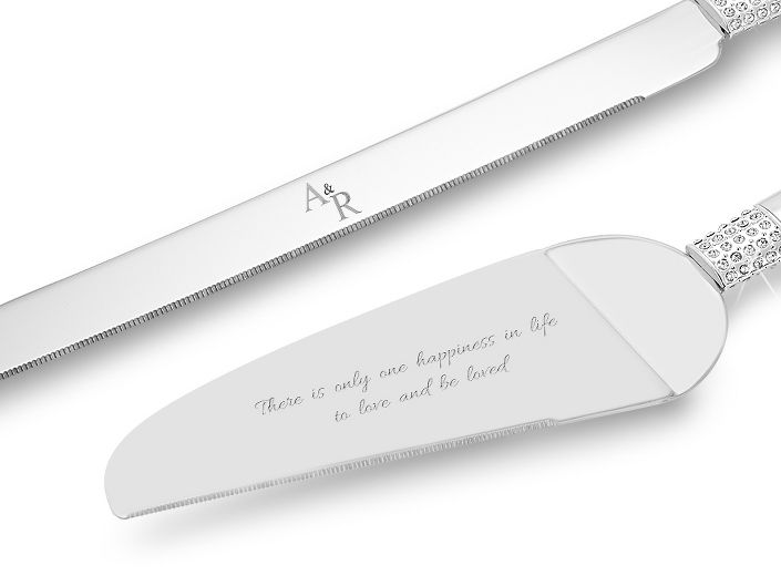 Beautiful In Their Clean Lines This Personalized Eternity Wedding Cake Server Set Is The Perfect