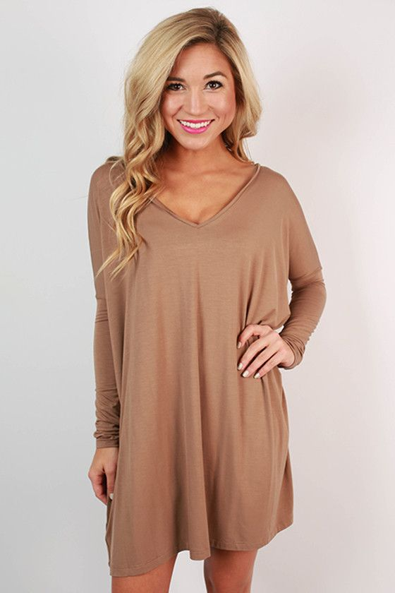 dd474098c74 PIKO V-Neck Tunic in Light Brown Piko Dress