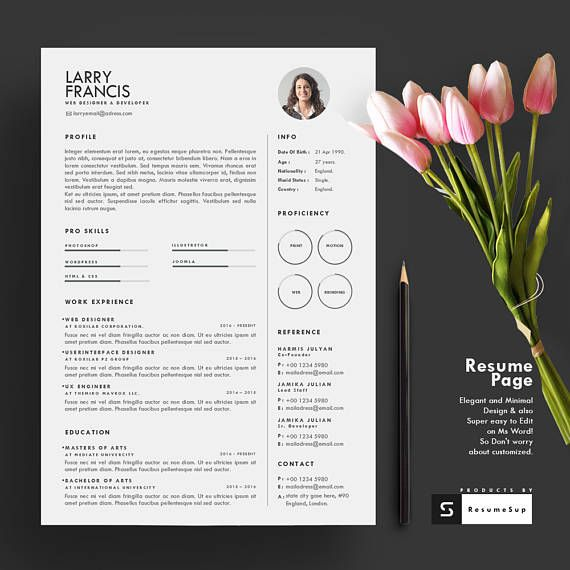 Resume Template 2 page CV Template Cover Letter for MS 2 Page