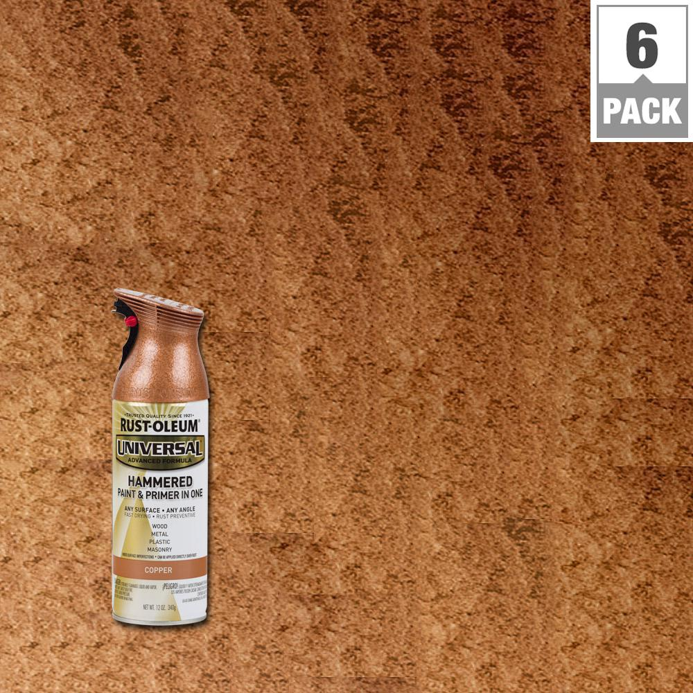 Rust Oleum Universal 12 Oz All Surface Hammered Copper Spray Paint And Primer In 1 6 Pack Copper Spray Copper Spray Paint Metallic Spray Paint