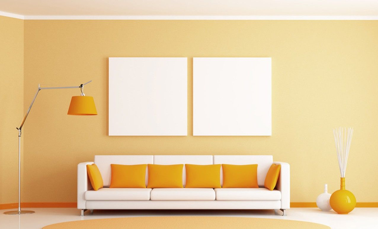 Interior White And Yellow Color Combination Living Room Wall Design With Sofa Cushion Charming Soft Also Unique Flooring
