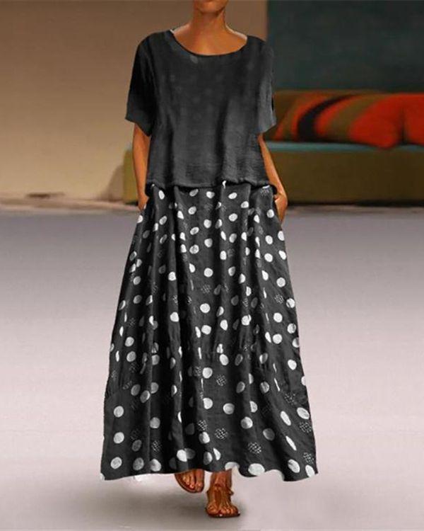 Photo of Casual Round Collar Polka Dot Print Maxi Dress