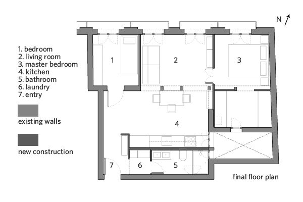 La Latina Condo Floor Plan Showing Final Layout The Rectangular Proportion Of This Condo With Its Longer E Condo Floor Plans Floor Plans Renovation Project