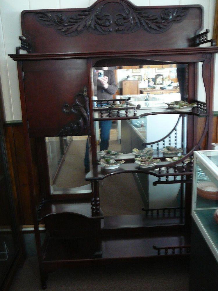S20 Antique Mahogany Victorian Etagere Shelf Curio Cabinet Orig. Finish  Hardware