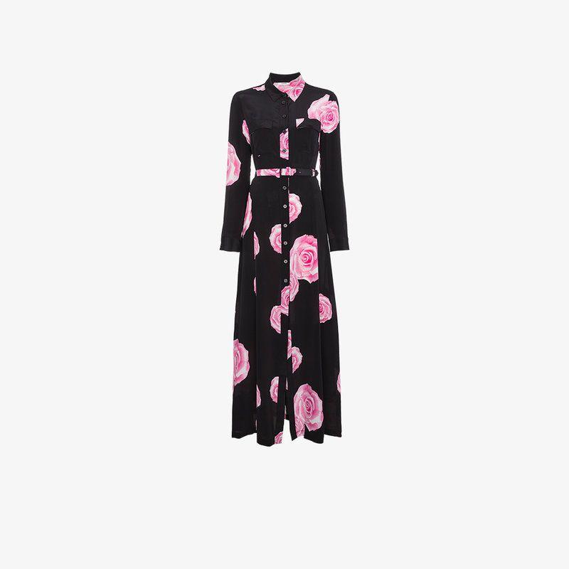 belted shirt dress with rose print Ganni nI4dLXIJ