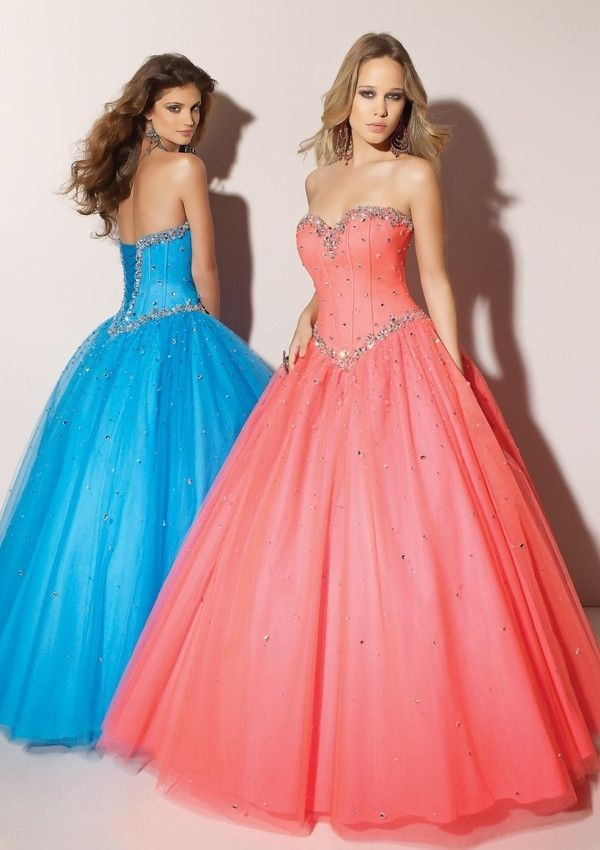 Beaded Ball Gown Sweetheart Satin Tulle Prom Dress PD1064 | vestidos ...