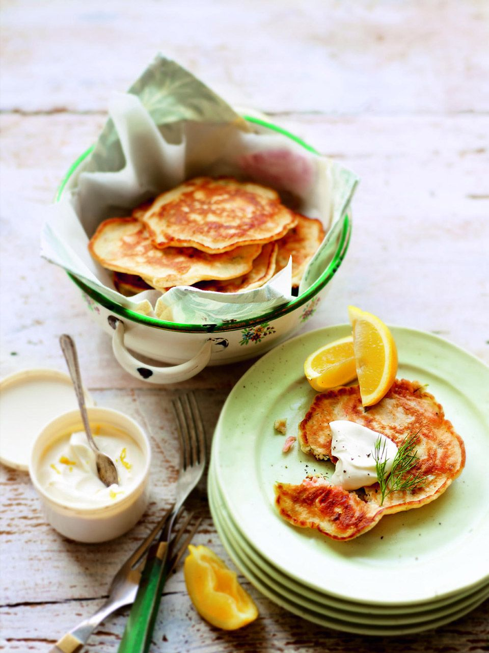 Smoked salmon and dill drop scones with lemon crème
