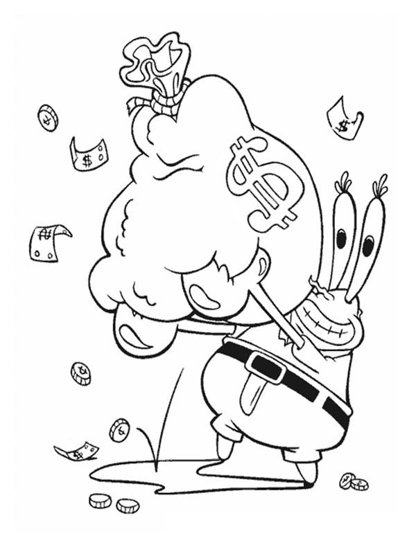 Mr Krabs With A Bag Full Of Money In Krusty Krab Coloring Page Color Luna Spongebob Drawings Spongebob Coloring Cartoon Coloring Pages