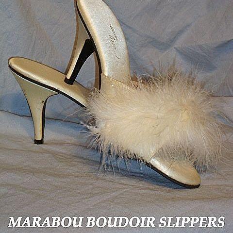 Vintage 1950 39 s white marabou high heel slippers polly - Ladies bedroom slippers with heel ...