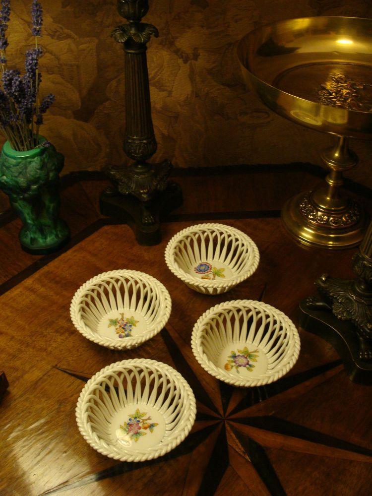 4 Porzellan HEREND Schale Korb Flechtrand Korbschale Gitter Blumen Dekor Ungarn