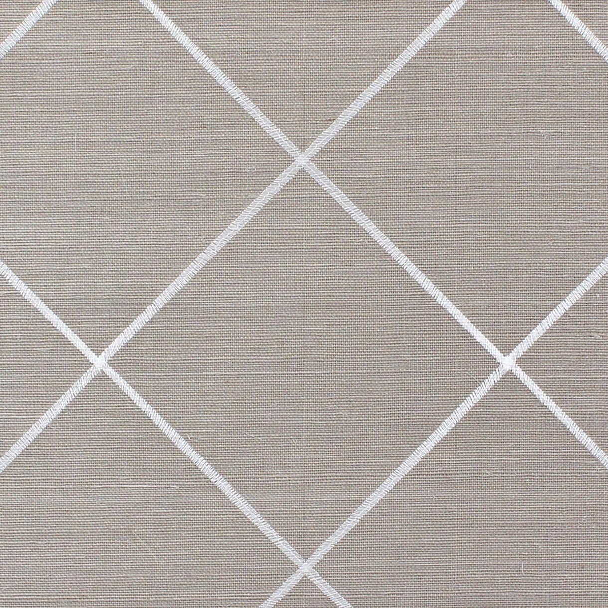 Trellis Embroidery In White Geometric, Hemp, Wallpaper by