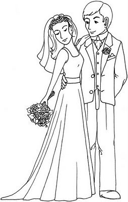 bride and groom coloring pages # 27