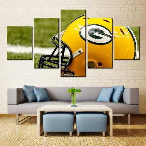 Green Bay Packers Helmet Nfl Football 5 Panel Canvas Wall Art Home Decor