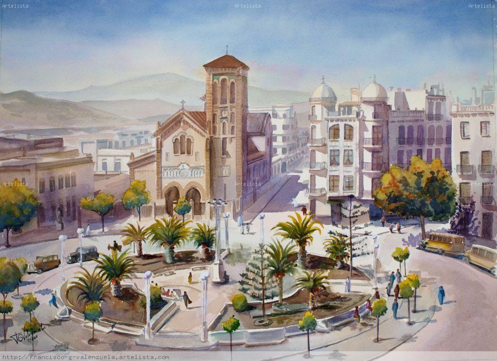 Plaza De Muley El Mehdi Años 30 Acuarela Art Painting