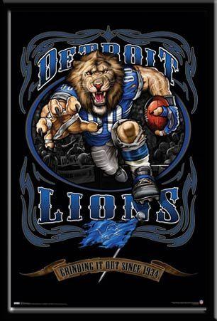 Detroit Lions Vintage Nfl Poster Grinding It Out Detroit