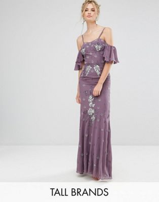 4ce90ac55fe1 Maya Tall Sequin Top Tulle Maxi Dress With Fluted Sleeve Detail ...