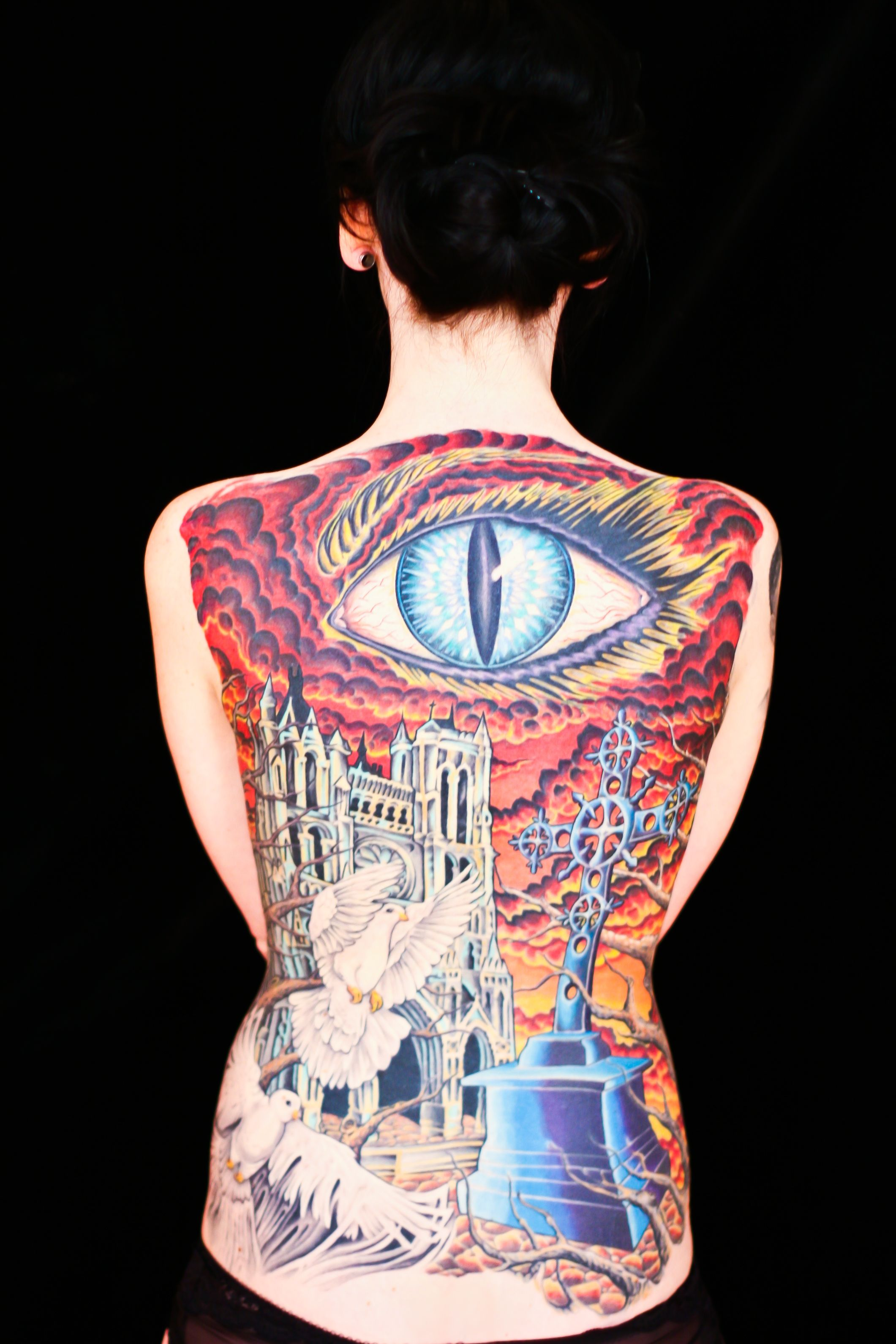 Back tattoo model amber konradi artist bj nigh big o for Body art tattoos lincoln