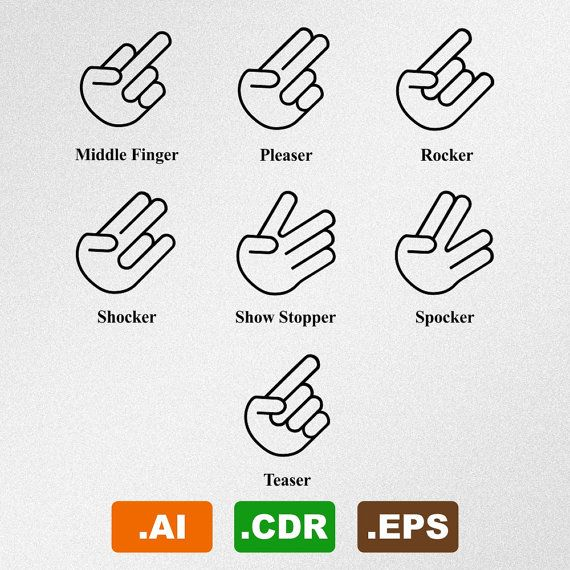 funny hand gestures jdm vector cliparts set of by
