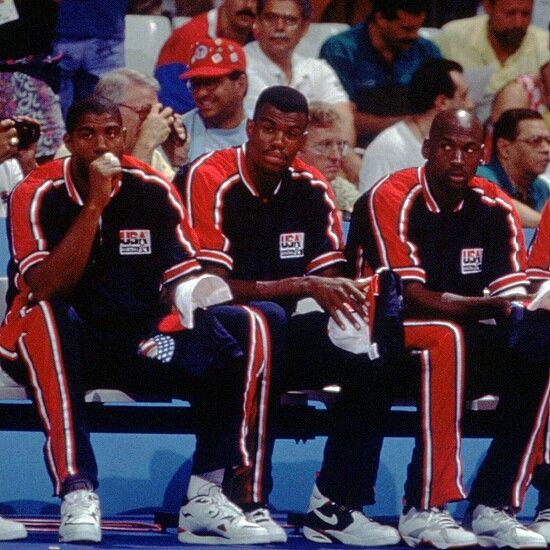 Magic Johnson, David Robinson and Michael Jordan