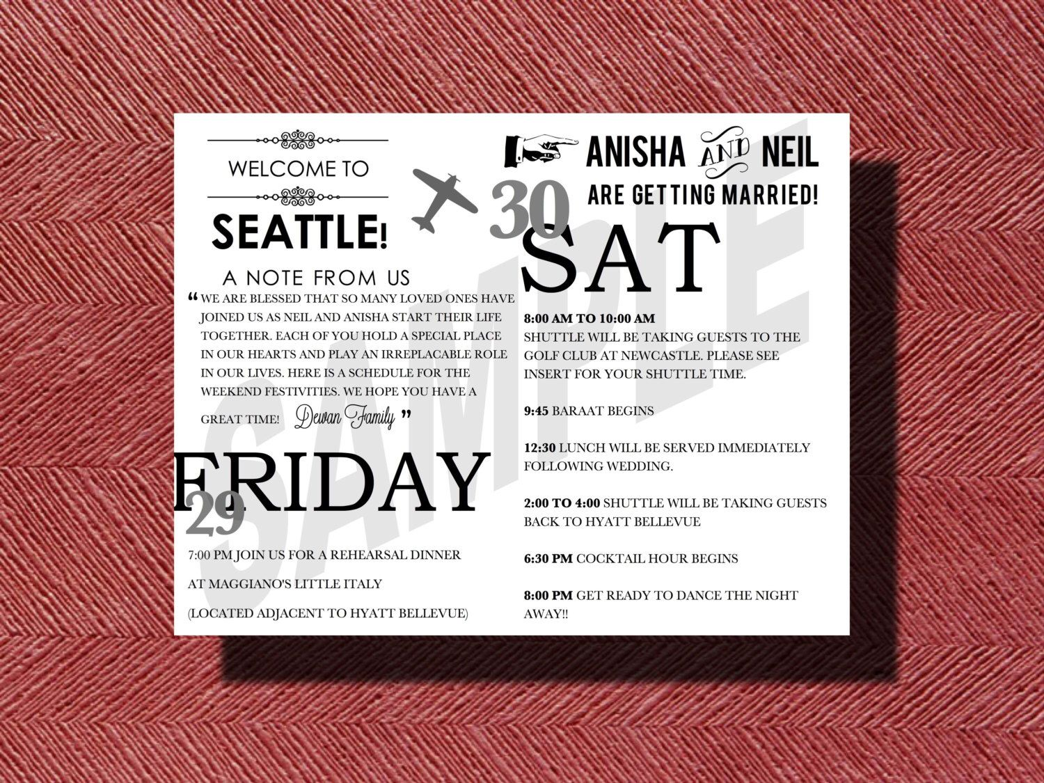 Seattle Washington Destination Wedding Welcome Bag Weekend Itinerary ...