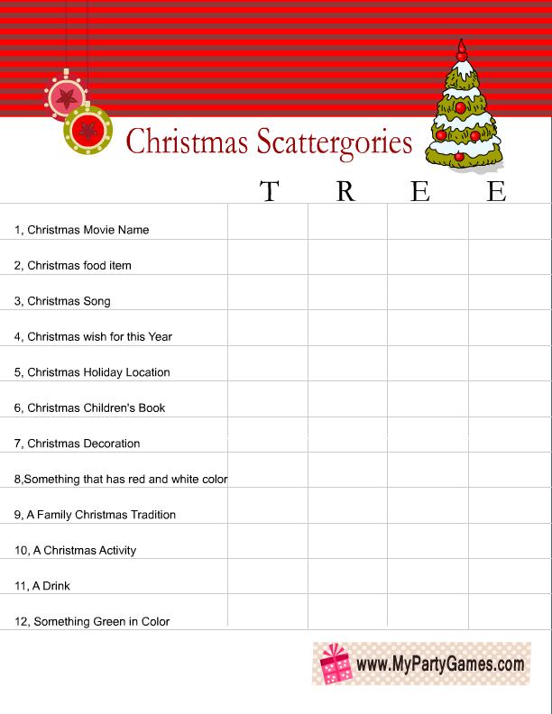 Scattergories inspired Christmas Game Worksheet using word Tree ...