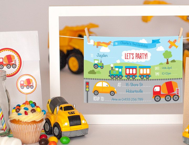 Free Transport Invitations Printables Party invitations - birthday invitations free download