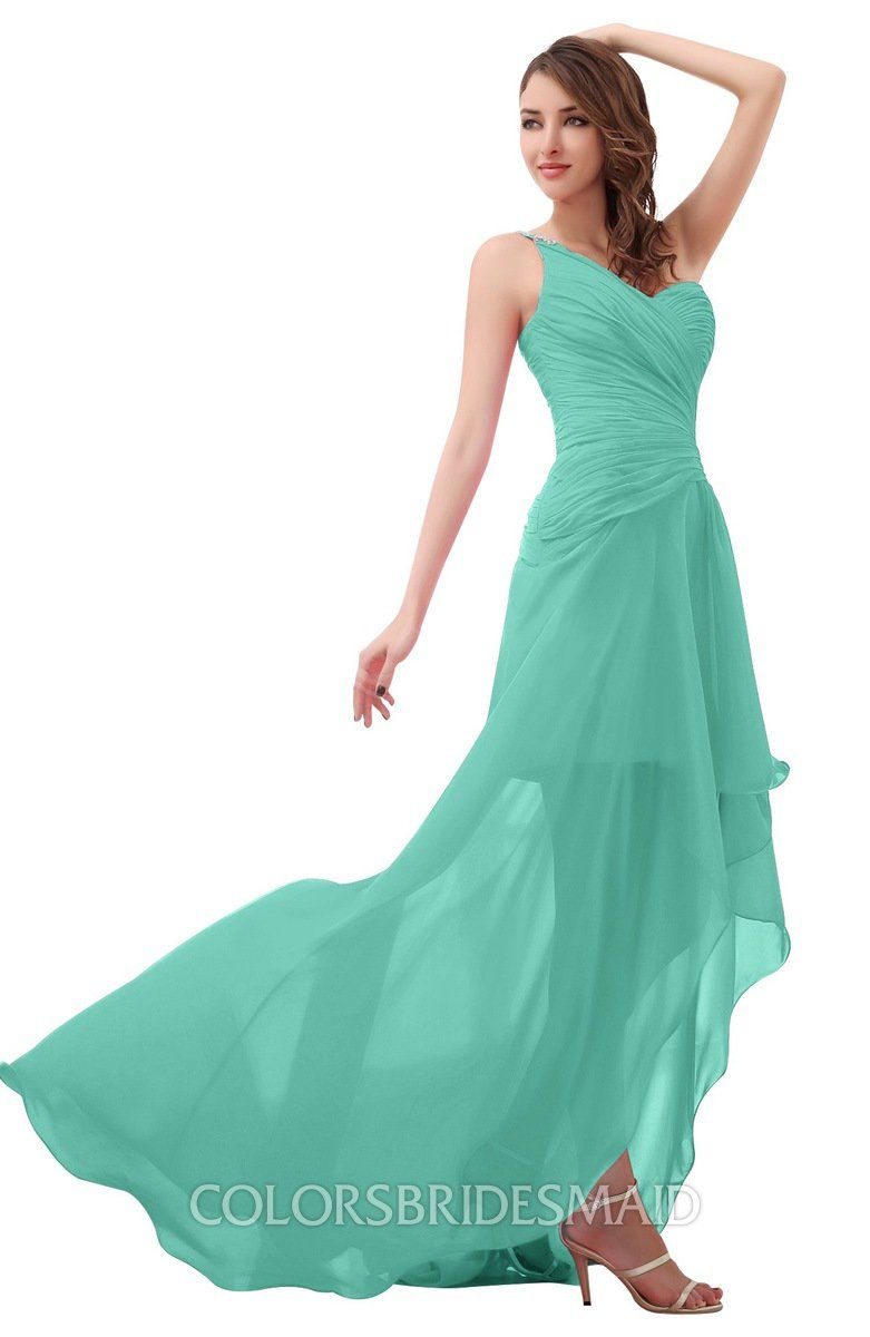 e2cba7c1c4e3 Mint Green Romantic One Shoulder Sleeveless Brush Train Ruching Bridesmaid  Dresses at colorsbridesmaid.com is on discount. The A-line, Brush Train, ...